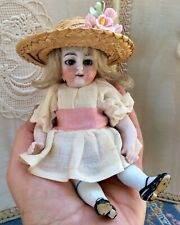 Unusual Antique German All Bisque 56 Doll, Big Glass Sleep Eyes, Feathered Brows