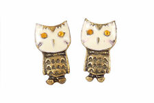 Kitsch Retro OWL Bird Vintage Bronze Enamel Jewellery Stud Earrings