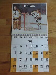 1971-72 Boston Bruins Calendar PHIL ESPOSITO Ken Hodge GERRY CHEEVERS Booby Orr