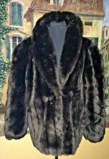 Vintage  Dark  Brown Mink Faux Fur Coat Jacket  Women's Jacket Size 14-16 USA