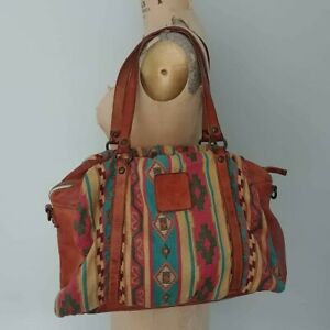 EUC Campomaggi RARE Aztec Tapestry Brown Leather Travel Bag Purse Large