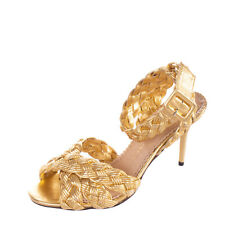 RRP €615 CHARLOTTE OLYMPIA Leather Ankle Strap Sandals Size 38.5 UK 5.5 US 8.5