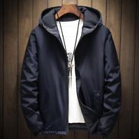 Mens Cotton Lined Hoodie Coat Zipper Sports Windproof Warm Jacket Casual Black