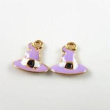 Purple Enamel Gold Tone Alloy Hat Look Charms Jewelry Making Pendants 19pcs/lot