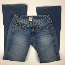 True Religion Womens Jeans Flare Size 27 Blue Light Wash Denim Made in USA