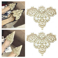 2pcs Pearls Flower Rhinestones Diamante Wedding Bridal Shoe Clips Buckle  Decor