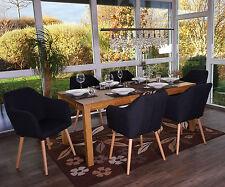 6x chaise de séjour / salle à manger Malmö T381, style rétro ~ tissu, gris foncé