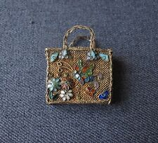 ANTIQUE CHINESE ENAMEL BUTTERFLY & FLOWERS MESH METAL MINIATURE PURSE BAG DOLLS
