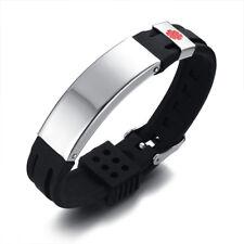 Black Personalized Medical Alert ID Bracelet Silicon Emergency Wristband Band