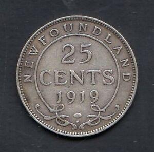 1919 NEWFOUNDLAND 25 CENTS SILVER COIN