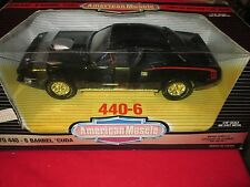 1970 70 CUDA 440 6 basrrel w/ Shaker hood triple black American Muscle ERTL 1/18
