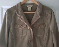 LL Bean Womens Brown Tan Corduroy Lined Blazer Jacket Size Medium Button Front