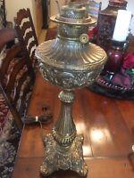 LARGE ANTIQUE HEAVY ROCHESTER ABCO KERO OIL PARLOR BRONZE / BRASS LAMP