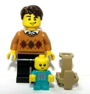 LEGO Baby & Father Dad Minifigure With Carrier Holder Turquoise Sparkle  Body