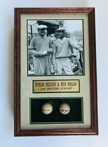 Byron Nelson/Ben Hogan Framed Photo/Shadowbox & Golf Balls 1942 Masters Playoff