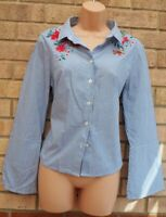 MARKS SPENCER BLUE WHITE STRIPED FLORAL EMBROIDERED FLARE SLEEVE TOP SHIRT 12 M