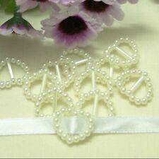 80pcs 16x15mm Cream Ivory Heart Buckle Ribbon Sliders Wedding Resin Pearls C14