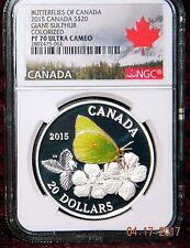 2015 CANADA $20 GIANT SULPHUR BUTTERFLY COLORED SILVER COIN NGC PF70 ULTRA CAMEO