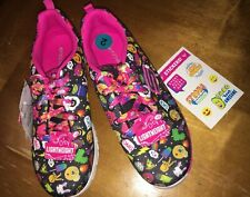 Girls Skechers emoji  Sz 2 Unicorn Shoes + Justice Stickers New