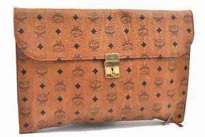 Authentic MCM Cognac Visetos Leather Vintage Clutch Hand Bag Brown E0096