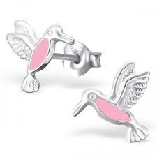 Plata esterlina 925 & Rosa Colibrí Lindo Volando Pájaro Aretes