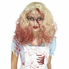 Zombie Bloody Alice Wig Halloween Blonde Adult Womens Fancy Dress