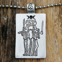 Triple Hecate Hekate Hecat Greek Moon Goddess Pewter Pendant W Silver Ball Chain