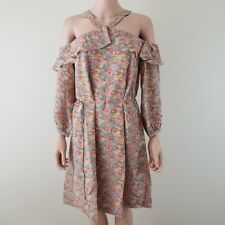 Madewell Womens Dress Size 10 Silk Prairie Cold Shoulder Floral Long Sleeve