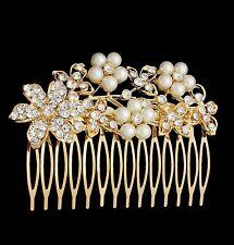 NEW Silver Gold Bridal Bridesmaid Wedding Hair Comb Clip Flower Pearl Rhinestone