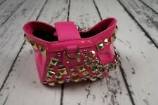 USED VERSACE H&M BAG TASCHE ROUCH PINK STUDDED HANDBAG PURSE CLUTCH 100%AUTHENTI
