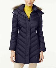 Kennth Cole Women's Cheveron Down Faux Fur Trim Hooded Puffer Coat Navy XL