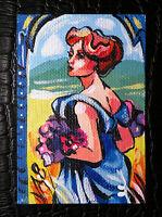 "Original art by Bastet ""Beautiful Retro Girl"" OOAK hand painted ACEO"