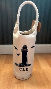 CLE CLEVELAND Embroidered Wine Tote Cedar Wooden Base Lighthouse Nautical Lake