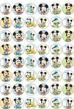48 x MICKEY MOUSE 1st HAPPY BIRTHDAY CUP CAKE FATA CHIGNON decorazioni per wafer commestibile