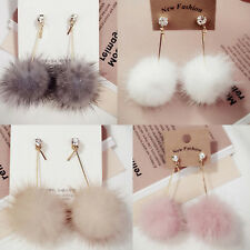 Women Lady Fashion Unique Jewelry Soft Fur Ball Pom Pom Long Dangle Earrings