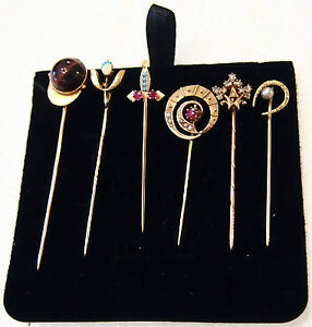 6   SET GOLD PINS  14KT ,DIAMOND,RUBY,TURQUOISE,PEARL, OPAL,TIGER EYE, RUSSIAN