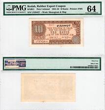 FMS Kedah Rubber Export Coupon 10 Katis KNB21 (1941-42) PMG 64