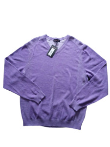 Roundtree & Yorke Mens Sweater Purple Long Sleeve V-Neck Cotton Pullover Size L