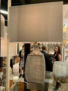 "CAFFARO 28"" FIRED GLAZE TEXTURED CERAMIC TABLE LAMP BRUSHED NICKEL METAL"