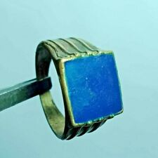 Engraved With Blue Stone Old Style Medieval Ancient Metal Color Silver Ring