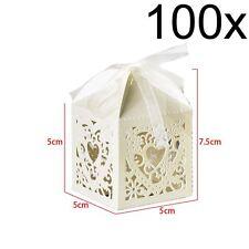 100 PCS LOVE HEART LASER CUT CANDY BOX WEDDING GIFT BOXES UK