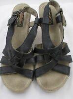Skechers Black Strappy Wedge Sandals Cork Leather US 10 EUR 40