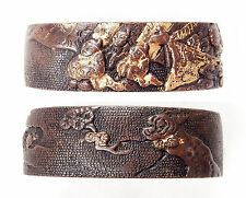 Antique Japanese Fuchi Men Tree Sword Fitting Tsuka Handle Koshirae Samurai