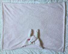 Carters Hooded Pink Bunny Rabbit Blanket Flower White Receiving Security Towel