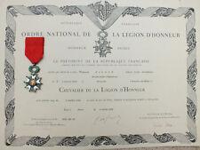 Légion d'Honneur 4è République avec diplôme