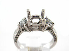1.31 CT Natural Diamond Lady's three stone Semi Mount Ring VS2/F 14K White Gold
