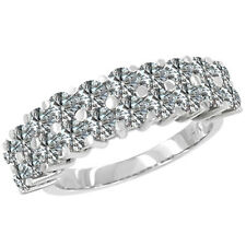 1.00 Ct 2 Row Half Eternity Band Clean White G-H Clean Diamonds Engagement Ring