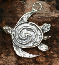 Artisan Sea Turtle Pendant in Sterling Silver