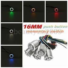 Metal Momentary 12V 16mm LED Push Button Power Horn Engine Start Kill Switch Car