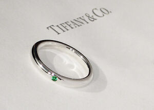 Tiffany & Co Sterling Silver Emerald Ring Elsa Peretti Green STACKING Band Ring